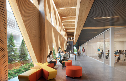 The School of Continuing Studies is exploring the use of mass timber to create durable, healthy, and inviting environments for students. Image Courtesy of Perkins + Will