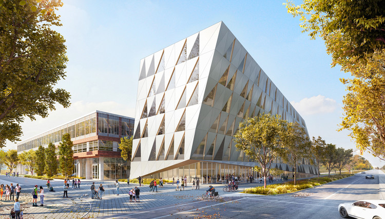 The School of Continuing Studies will include a new pedestrian plaza along Pond Road. Image Courtesy of Perkins + Will