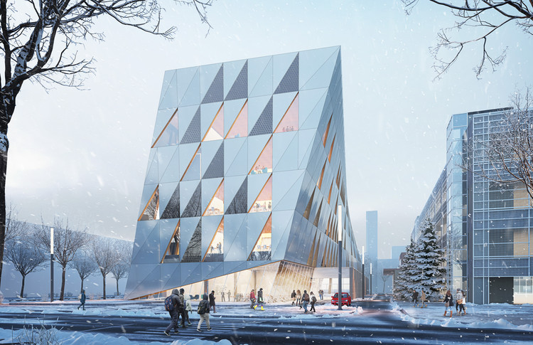 Perkins + Will's Prismatic Facade Scheme Wins Competition for York University Building in Toronto, The School of Continuing Studies will frame an architectural gateway at the South edge of the Campus. Image Courtesy of Perkins + Will