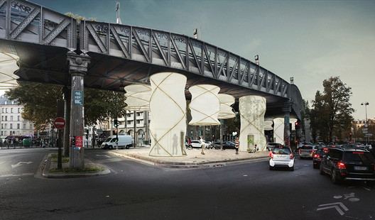 Modular Installation Provides Temporary Housing For Refugees Beneath Paris Bridge