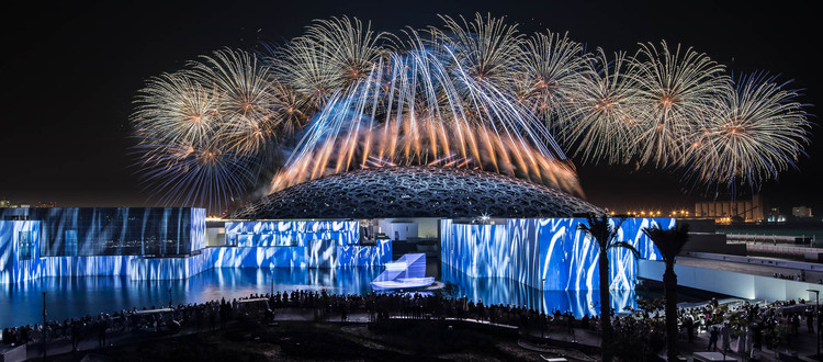 "How to Celebrate New Architecture: Shaping Identity with Spectacular Opening Ceremonies, ""Vives réflexions, museum reflections,"" multimedia and pyrotechnic show for the grand opening of Louvre Abu Dhabi, Abu Dhabi 2017. Artistic direction: Christophe Berthonneau, Groupe F. Image © N. Chavance, Groupe F"