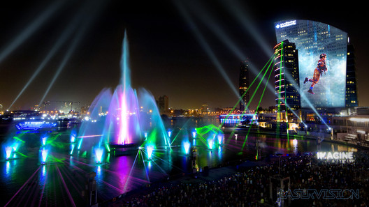 Lasers, water-screen projections and video mapping projection for IMAGINE at Dubai Festival City, Dubai / UAE, 2017. Design: Laservision Mega Media. Image © Laservision Mega Media