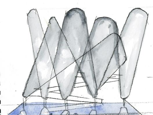 Conceptual watercolor sketch. Image Courtesy of Steven Holl