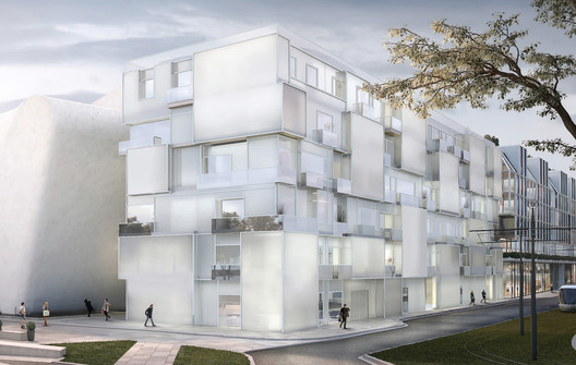 The museum is connected to a titanium linear hotel. Image Courtesy of Steven Holl