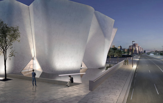 The white concrete museum is inspired by an adjacent fortress. Image Courtesy of Steven Holl