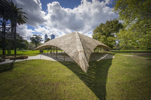 MPavilion by Studio Mumbai, , who Frampton names as a practice doing exceptional work in Asia. Image © John Gollings