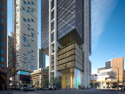 The exterior of 30 Bay Street is driven by structural steel, transparency, and connectivity. Image Courtesy of RSHP