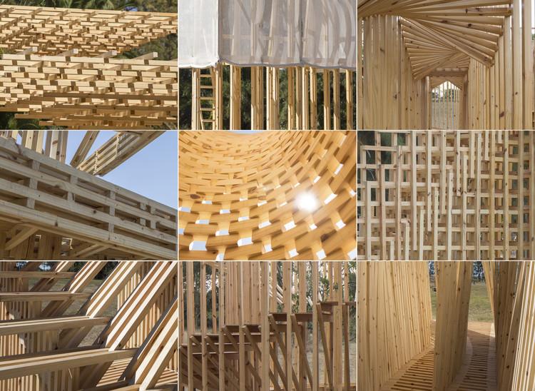 Las estructuras de madera construidas por estudiantes en Hello Wood Argentina 2018, Cortesía de TACADI Estudio