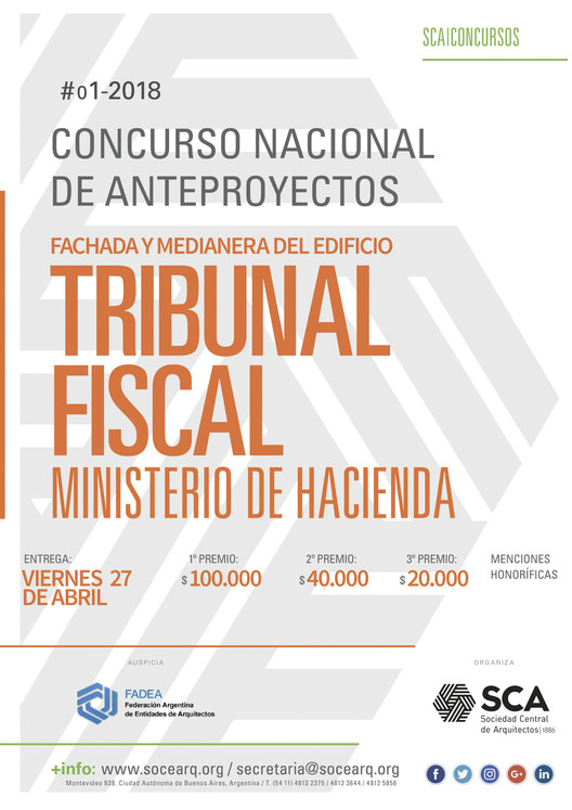 Concurso Fachada y Medianera del Edificio Tribunal Fiscal del Ministerio de Hacienda de la Nación / Argentina, Cortesía de Sociedad Central de Arquitectos