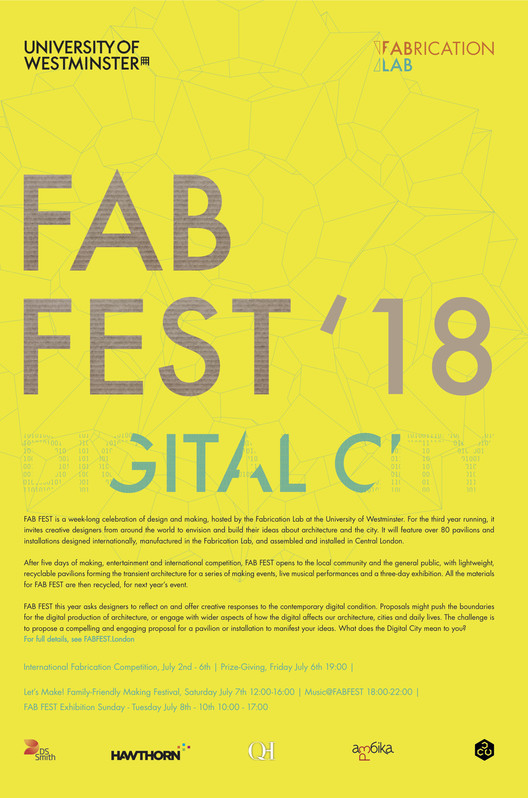 Open Call: FAB FEST - International Fabrication Competition and Public Festival, FAB FEST '18 official poster. ©FAB FEST