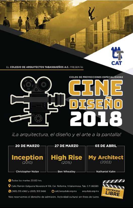 Cine Diseño 2018, Cartel del festival © Colegio de Arquitectos Tabasqueños AC