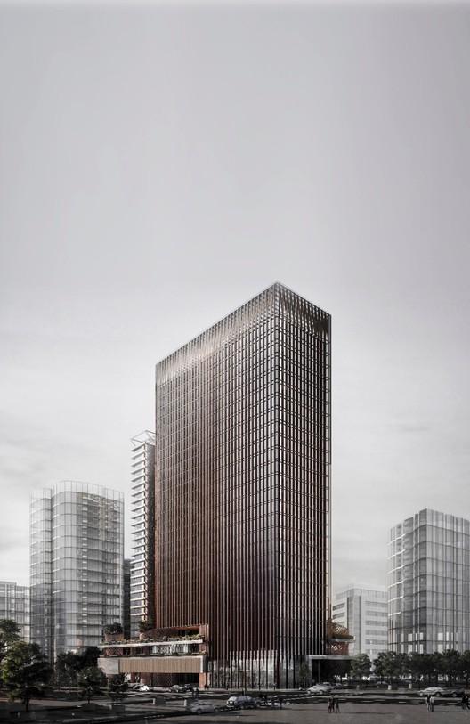 Propuesta de Cristián Fernández Arquitectos para el concurso Puerta Las Condes, Cortesía de INDESA