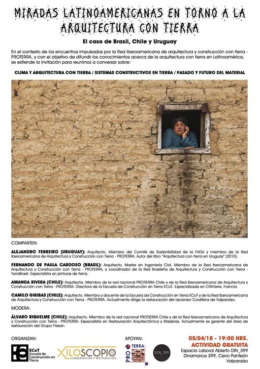 Miradas latinoamericanas en torno a la arquitectura con tierra, Afiche: Camilo Giribas / Foto: Cristián Muñoz