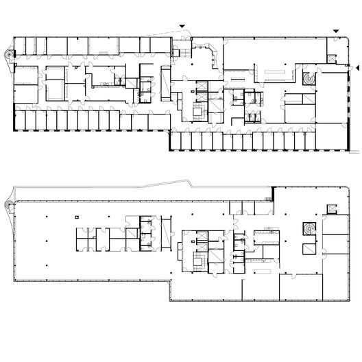 Third + Sixth floor plans