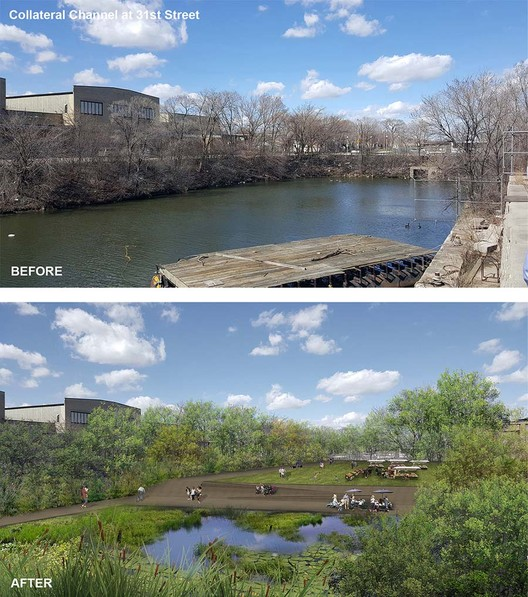 "The firm's project for Collateral Channel, in the city's Little Village neighborhood, calls for transforming a polluted, methane-emitting body of water—locally nicknamed ""Ass Creek""—into a vibrant urban park. Image Courtesy of Ross Barney Architects"
