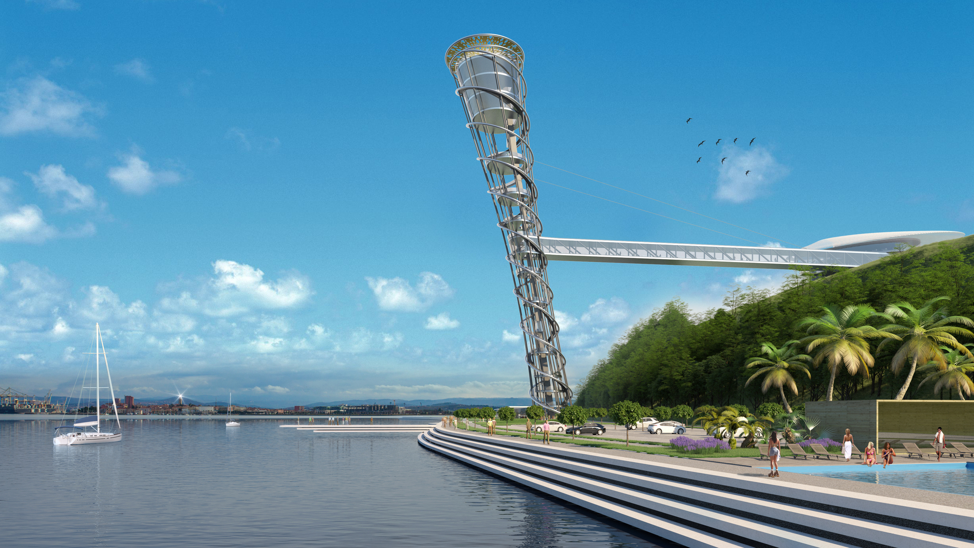 Studio Fuksas Releases Images of Competition-Winning Double-Ellipse Tower in Slovenia