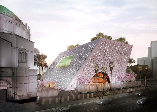 The scheme will be situated beside a 1929 Byzantine-Revival sanctuary. Image Courtesy of OMA New York / Luxigon
