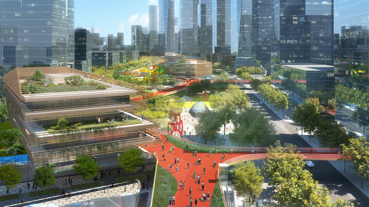 Meandering Skydeck Features in HASSELL's Competition-Winning Shenzhen District Masterplan, Courtesy of HASSELL