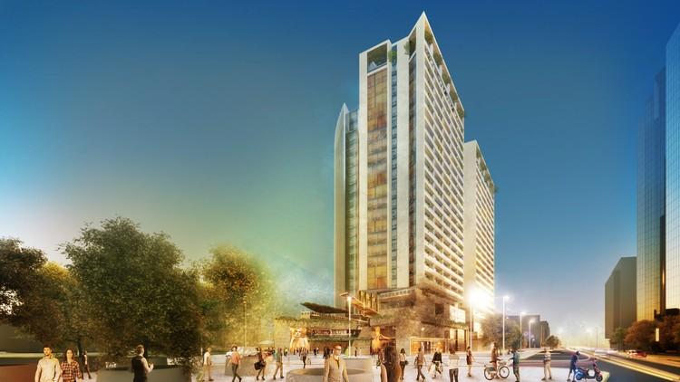 Propuesta de DLA Arquitectos y  KPF para el Concurso Puerta Las Condes, Cortesía de INDESA