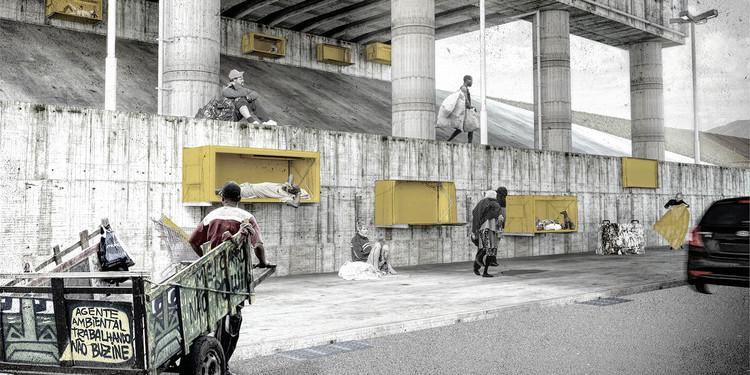 Estudantes propõem abrigos individuais portáteis para moradores de rua em concurso, Cortesia de Projetar.org