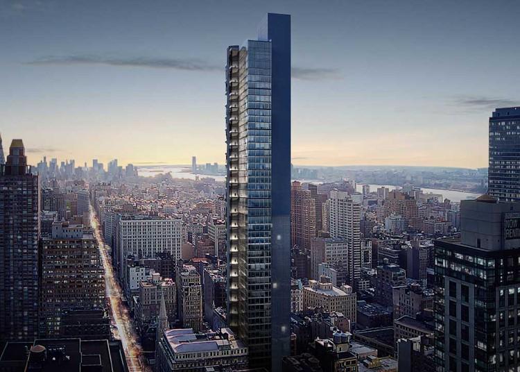 BIG presenta diseño de su más reciente rascacielos en Nueva York, Imagen <a href='https://newyorkyimby.com/2018/04/bjarke-ingels-designed-29th-5th-revealed-hfz-capitals-new-nomad-office-tower-at-3-west-29th-street.html'>vía New York YIMBY</a>