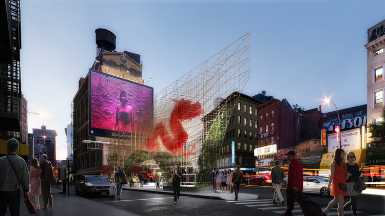 "ODA Unveils Images of Bamboo-Inspired ""Dragon Gate"" for New York's Chinatown, Courtesy of ODA New York"