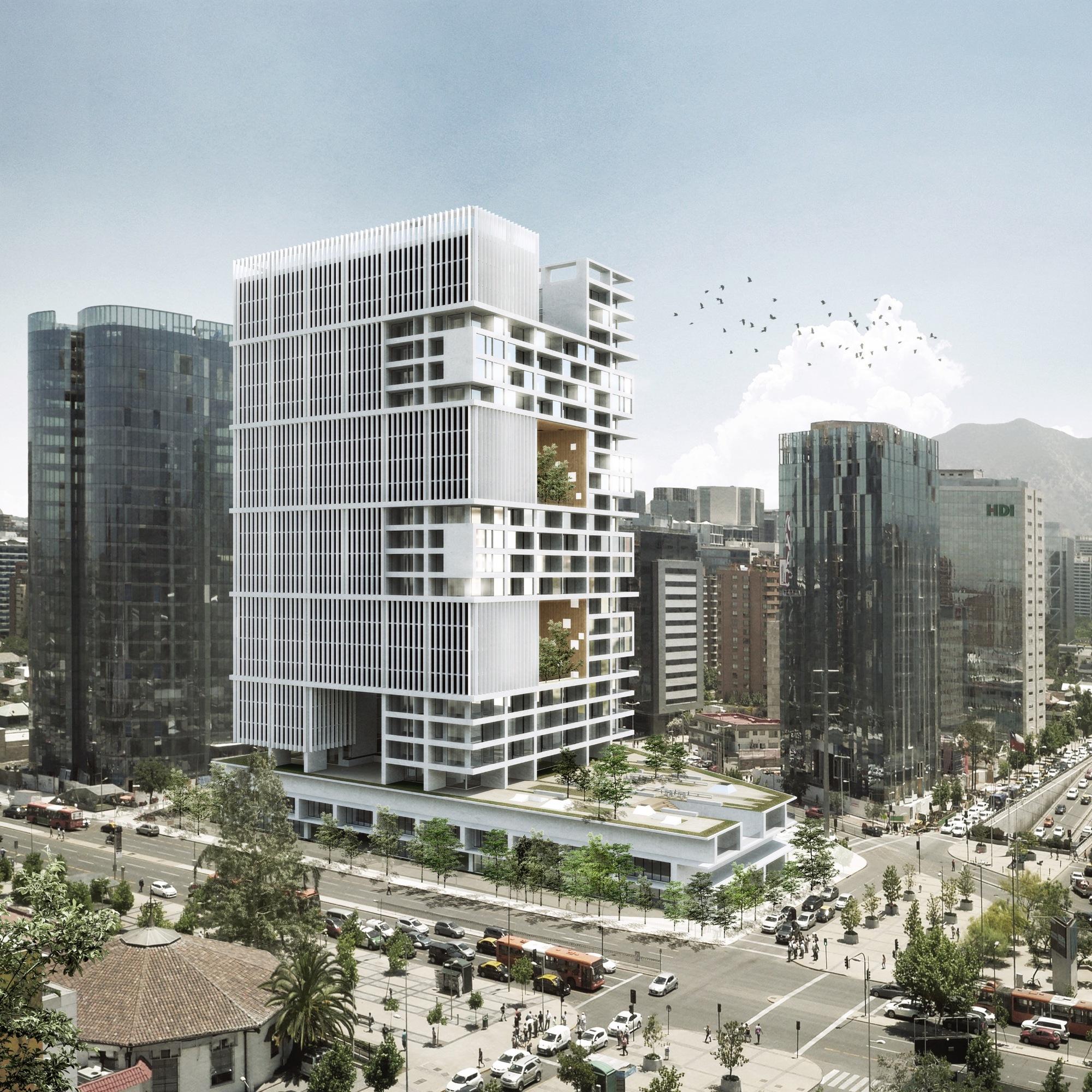 Propuesta de Gonzalo Mardones + b720 Fermín Vázquez Arquitectos para el Concurso Puerta Las Condes