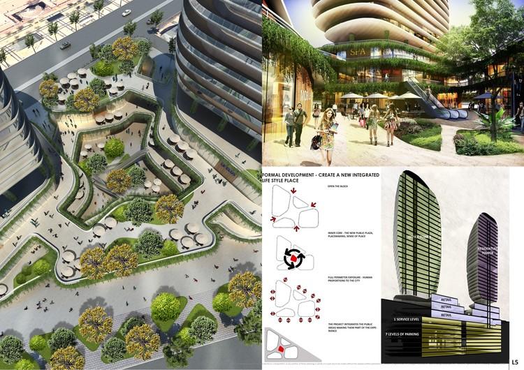 """""""Las Piedras del Cielo"""" Propuesta de BL Arquitectos y Arquitectónica para el Concurso Puerta Las Condes"""