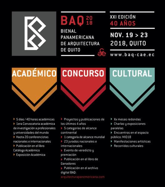 XXI BAQ2018: comienzan las inscripciones para la Bienal Panamericana de Arquitectura de Quito, Cortesía de XXI BAQ2018