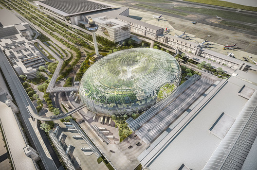 The airport's development plans also include <a href='https://www.archdaily.com/575693/safdie-architects-design-glass-air-hub-for-singapore-changi-airport'> Safdie Architects' mixed-use bio-dome</a></noindex></noindex> pictured here, which will feature <noindex><noindex><a target=