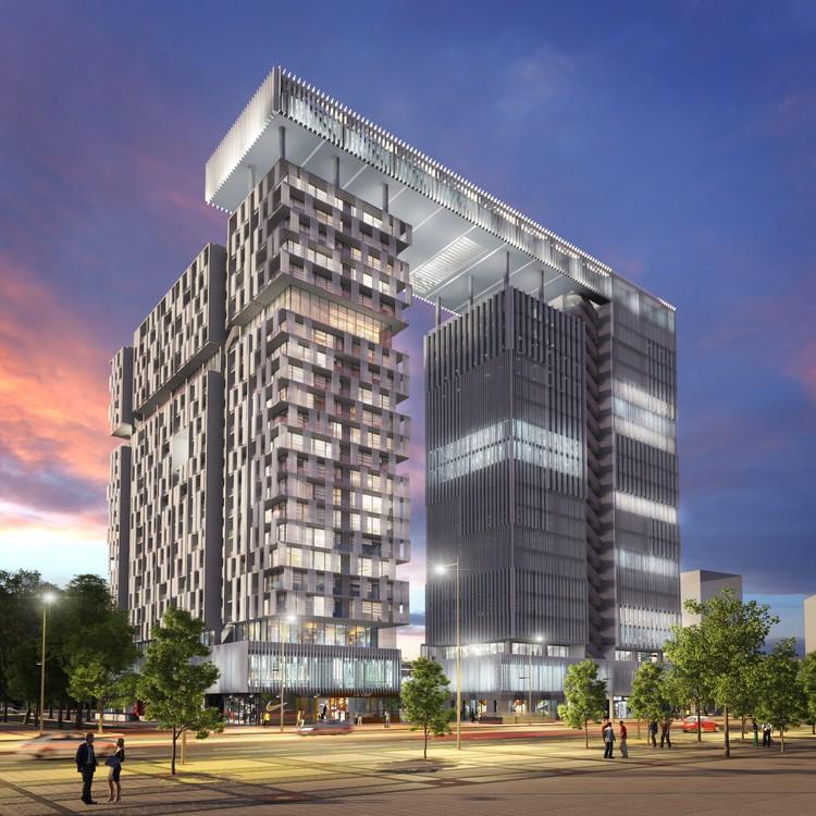 Propuesta de Alonso Balaguer Arquitectos, Soto Arquitectos y Espiral para el Concurso Puerta Las Condes, Cortesía de INDESA