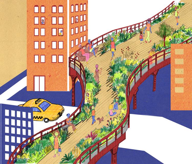 Casacadabra 2: livro de urbanismo para crianças é lançado no Catarse , High Line em Nova Iorque. Ilustração para o livro Casacadabra 2. Image © Luísa Amoroso