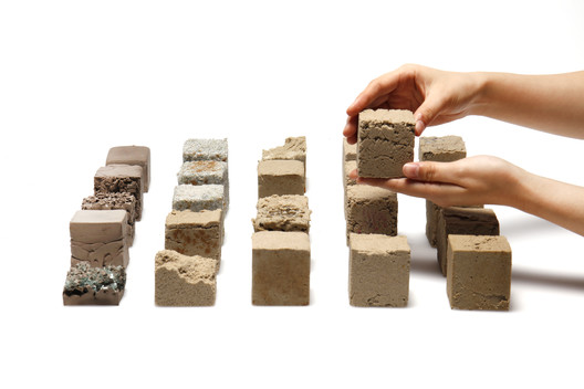 Objects made of Finite, a material developed by students from Imperial College London using desert sand. Image © Finite