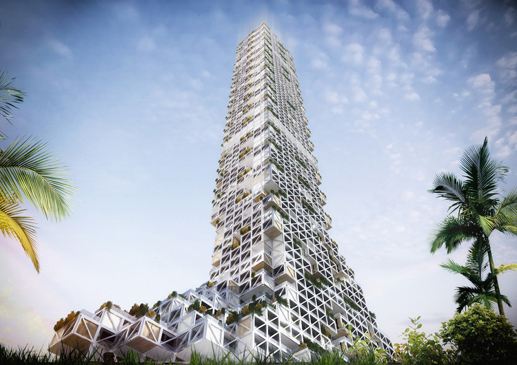 "Proposed ""Permeable"" Mixed-Use Tower in Dubai Challenges Urban Density, Courtesy of rgg Architects"