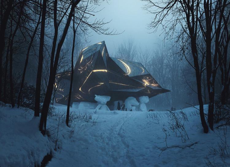 """Por que """"Uma casa para morrer"""" de Snøhetta é um dos projetos mais controversos da Noruega, Renderização do projeto proposto para A House to Die In, como visto subindo a colina. Image © MIR and Snøhetta"""