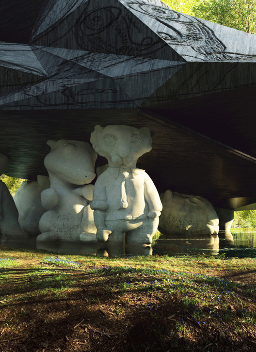 Detail of the half-cubist, half-teddy bear support columns, which take on varying degrees of algorithm-assisted abstraction. Image © MIR and Snøhetta