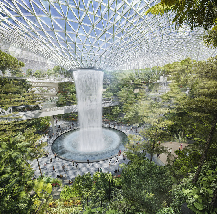 Heatherwick deve projetar super terminal para o Aeroporto de Singapura, O projeto também inclui <a href='https://www.archdaily.com/575693/safdie-architects-design-glass-air-hub-for-singapore-changi-airport'> Safdie Architects' mixed-use bio-dome</a> retratada aqui, que terá a <a href='https://www.archdaily.com/873144/safdie-architects-changi-airport-will-host-worlds-tallest-indoor-waterfall'> maior cachoeira coberta do mundo</a> . Image © Safdie Architects