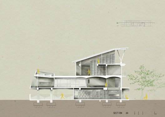 A-A Section. Image Courtesy of Emerge Architects