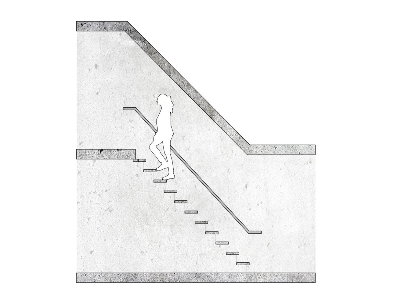 ¿Cómo diseñar y calcular una escalera?,Relación 21x21 cm / ejemplo esquemático. Image © José Tomás Franco