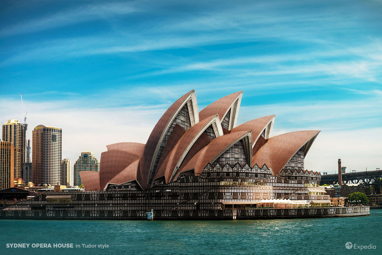 7 Iconic Buildings Reimagined in Different Architectural Styles, Courtesy of Expedia