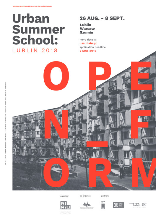 "Call for applications: ""Urban Summer School: Open form"", Urban Summer School: Open form poster. Design: Magda Ostapiuk"