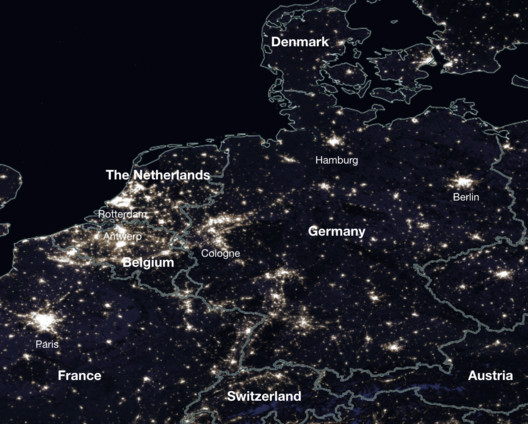 Germany, Belgium and The Netherlands, 2016. Image via NASA Worldview