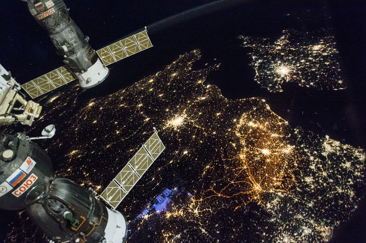 How Satellite Images of the Earth at Night Help Us Understand Our World and Make Better Cities, Nighttime view of Western Europe: England (top right), Paris (bright city near the middle of the image) and Belgium and the Netherlands (middle-right of frame). Image courtesy of the Earth Science and Remote Sensing Unit, NASA Johnson Space Center