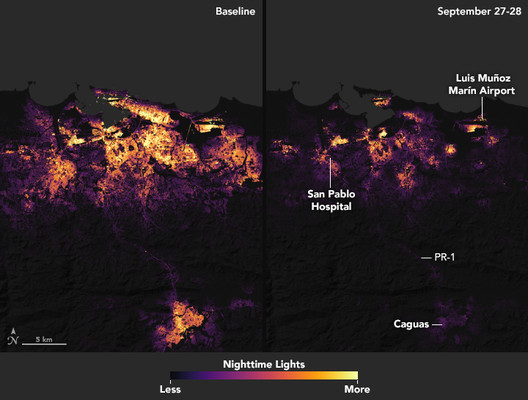 Puerto Rico after Hurricane Maria, September 27-28, 2017. NASA Earth Observatory images by Joshua Stevens, using data courtesy of Miguel Román, NASA GSFC, and Andrew Molthan, NASA MSFC. Earth Science and Remote Sensing Unit, NASA Johnson Space Center