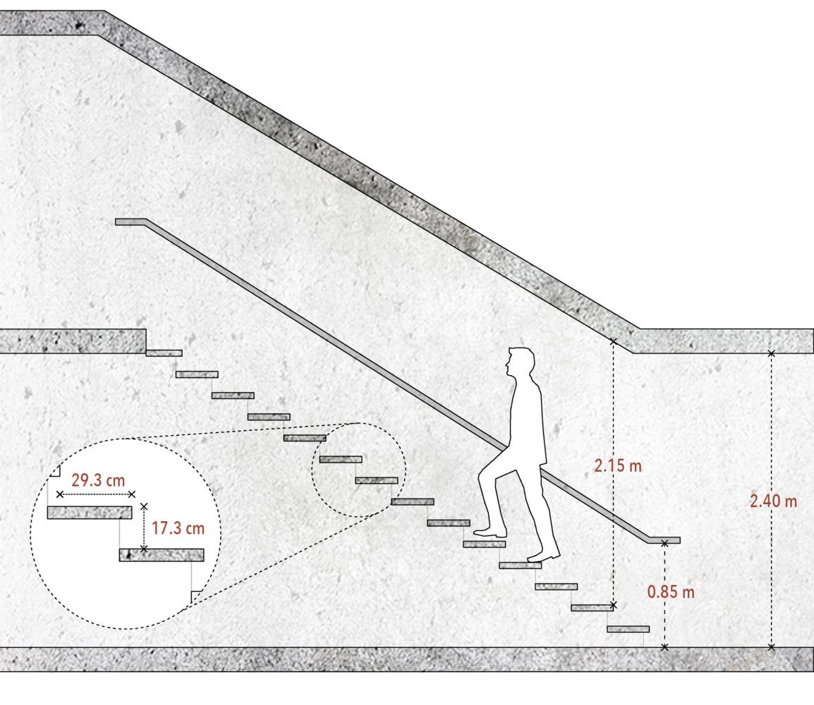 ¿Cómo diseñar y calcular una escalera?,Ejemplo esquemático. Image © José Tomás Franco