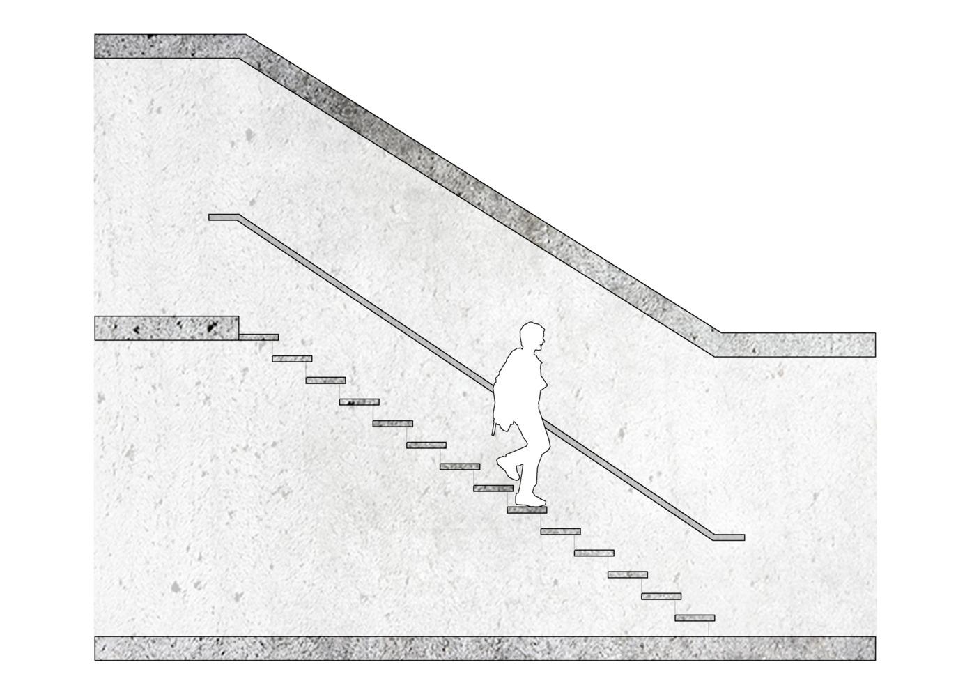 ¿Cómo diseñar y calcular una escalera?,Relación 28x18 cm / ejemplo esquemático. Image © José Tomás Franco