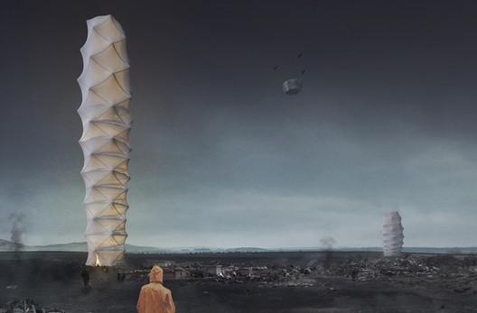Skyshelter.zip: Foldable Skyscraper for Disaster Zones. Image Courtesy of eVolo