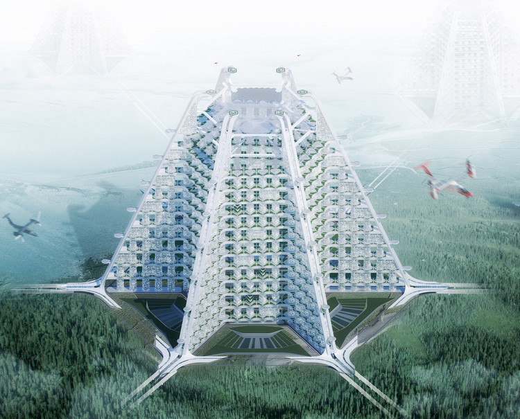 Project 1111: Sustainable Vertical City. Image Courtesy of eVolo