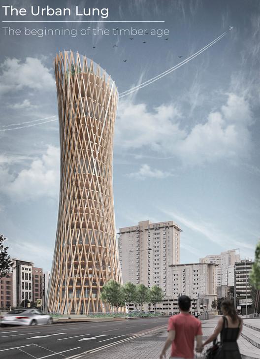 The Urban Lung: Timber Skyscraper. Image Courtesy of eVolo
