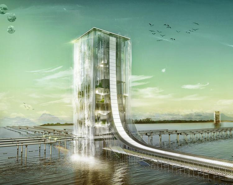 River Square: Water Purification Skyscraper in India. Image Courtesy of eVolo